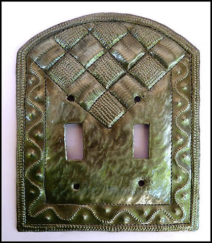 Metal Switch Plate, Light Switch Cover, Switchplate Covers, Recycled Haitian Steel Drum Art - Double