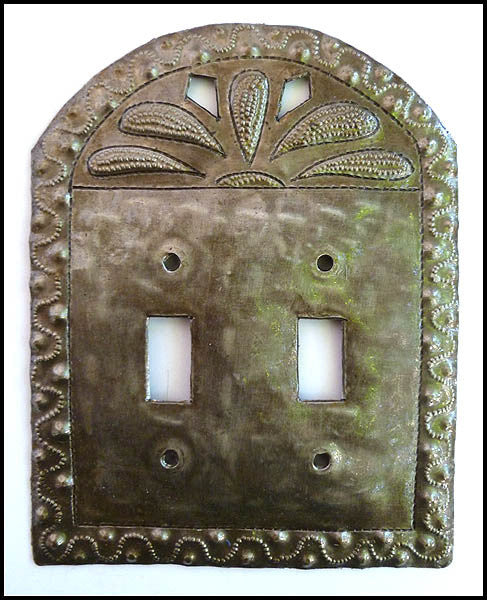 Metal Switch Plate Cover - Haitian Recycled Steel Drum Switchplate - Double Light Switch