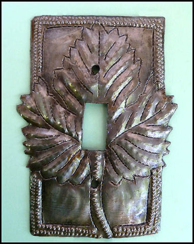 Metal Switch Plate, Light Switchplate Cover, Leaf Design Switch Plate, Haitian Steel Drum Art - Single