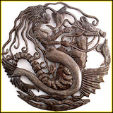 "Haitian Steel Drum Metal Wall Hanging, Mermaid & Seahorse , Haitian Metal Art, Home Decor - 24"" X 24"""