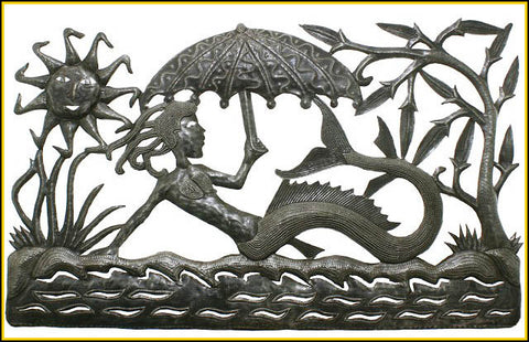 Mermaid Metal Wall Hanging - Steel Drum Art of Haiti - Metal Wall Art - Garden Decor - 34""