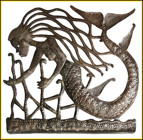 "Mermaid Metal Wall Hanging - Haitian Steel Oil Drum Art - Decorative Mermaid Metal Art - 30"""" x 30"""""
