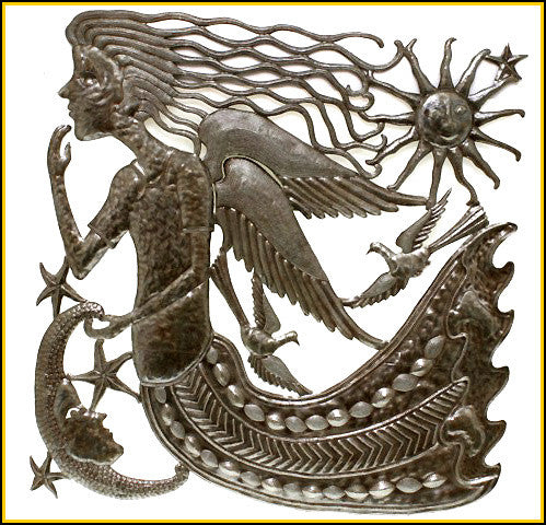 Metal Wall Art, Angel, Sun and Moon, Metal Wall Hanging, Handcrafted Haitian Steel Drum Decor - 17""