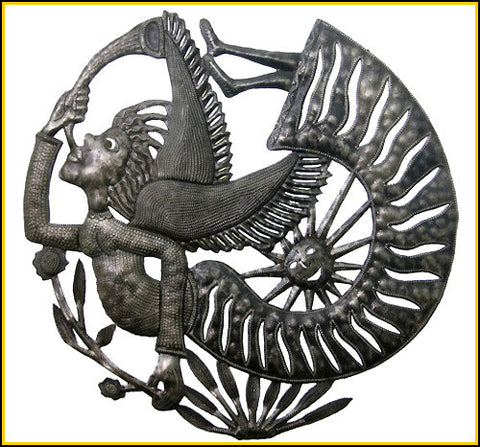 Angel Metal Wall Hanging, Steel Drum Art of Haiti, Metal Wall Decor, Haitian Metal Art -  24""