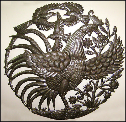 Haitian Metal Art, Chicken Metal Wall Decor, Metal Wall Art,  Recycled Haitian Steel Drum Art - 30""