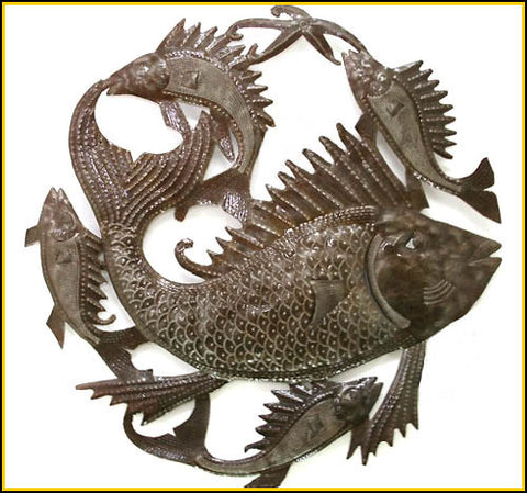 "Fish Metal Wall Decor, Haitian Art, Recycled Steel Drum Art - Decorative Metal Wall Hanging - 24"" x 24"""