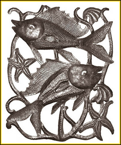 Metal Fish Wall Hanging-  Haitian Steel Drum Metal Art - Recycled Metal Sculpture - 30""