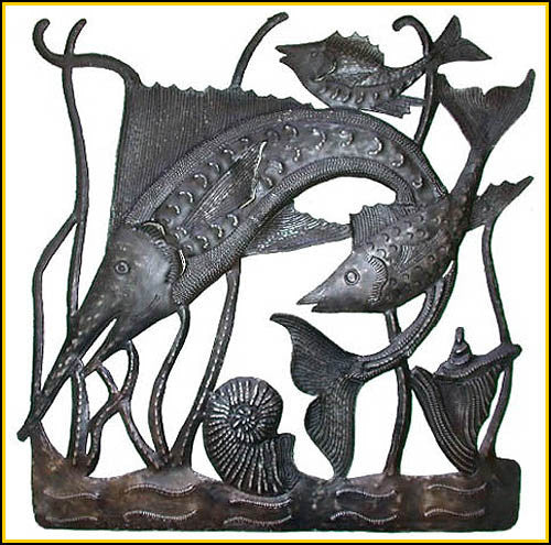 "Fish Metal Wall Hanging - Haitian Recycled Steel Drum Art - Handcrafted Metal Art - 30"" x 30"""