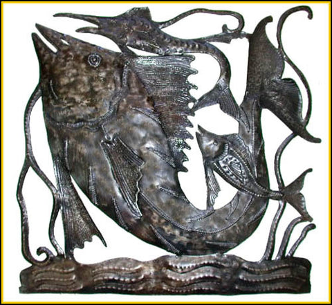 "Fish Art Metal Wall Hanging - Haitian Oil Drum Sculpture -Handcrafted Wall Decor - 30"" x 30"""