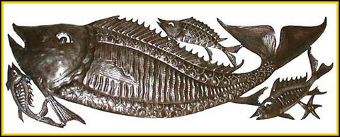 "Metal Fish Design - Metal Art Wall Decor - Haitian Steel Drum Metal Art Wall Hanging - 12"" x 34"""