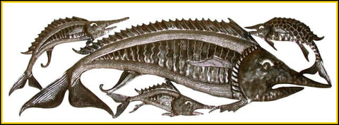"Haitian Steel Drum Metal Sculpture - Metal Fish Wall Hanging - Fish Wall Decor -11"" x 34"""