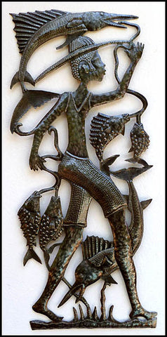 "Haitian Metal Art, Fisherman with Days Catch, Handcrafted Steel Drum Metal Art of Haiti - 16"" x 34"""