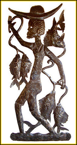 Haitian Fisherman - Steel Drum Metal Art Wall Sculpture - Handcrafted Metal Fish Wall Art