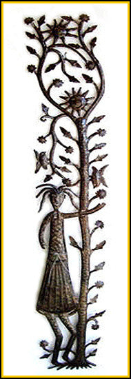 Haitian Metal Wall Art - Woman with Sunshine Tree Wall Hanging - Steel Drum Art - 24""