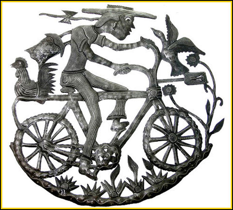 Haitian Metal Art - Man on Bicycle - Recycled Steel Drum Wall Hanging - 24""