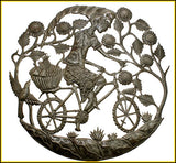 Haitian Steel Drum Metal Wall Decor, Metal Art of Haiti, Woman on Bicycle, Recycled Steel Drum Art - 24""