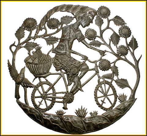 Haitian Steel Drum Metal Wall Decor - Woman on Bicycle - 24""