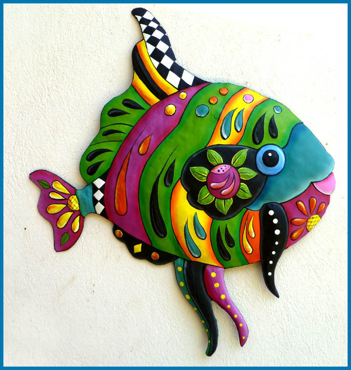 "Tropical Fish Metal Wall Hanging - Tropical Decor - Garden Decor - Metal Art - 24"" x 28"""