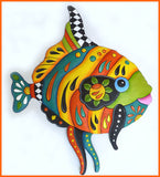 Tropical Fish Wall Art - Brightly Hand Painted Metal Wall Decor - Tropical Decor - 28""