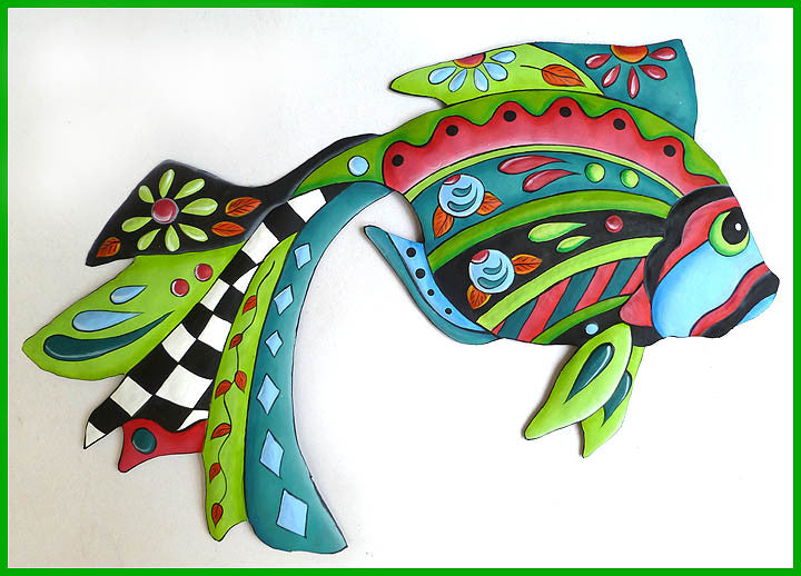 Painted Metal Tropical Fish Metal Wall Hanging - Tropical Garden Decor - Metal Wall Art - 24""