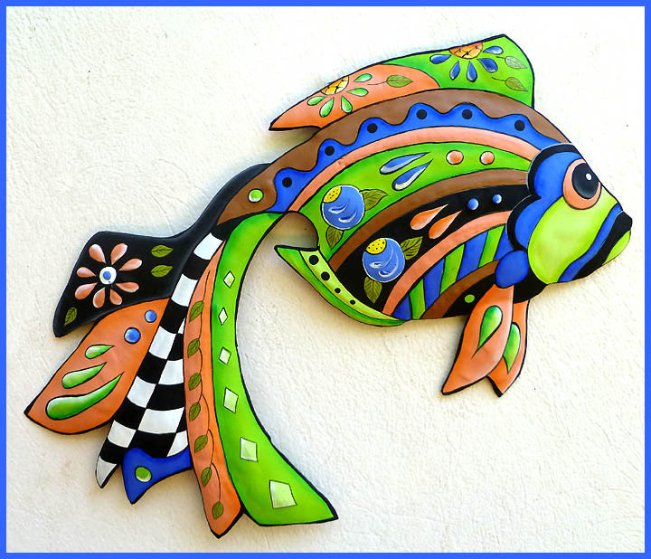 "Painted Metal Tropical Fish Metal Wall Hanging - Tropical Decor - Metal Art - 15"" x 24"""