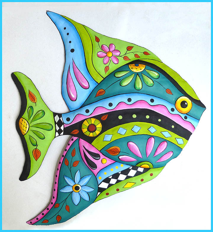 Tropical Fish Metal Wall Hanging - Painted Metal Tropical Decor ...