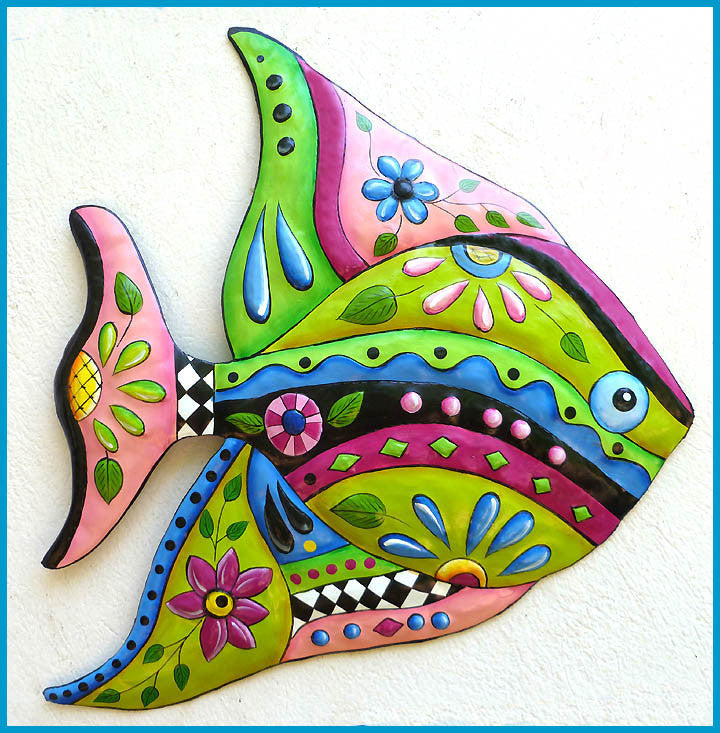 Tropical Fish Metal Wall Hanging - Painted Metal Tropical Decor - Metal Wall Art - 25""