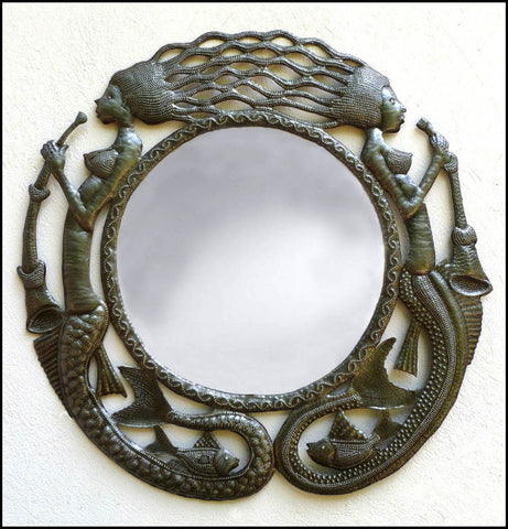 Metal Mirror Wall Decor, Haitian Recycled Steel Drum Metal Art, Haitian Art, Mermaid & Fish Design 23""