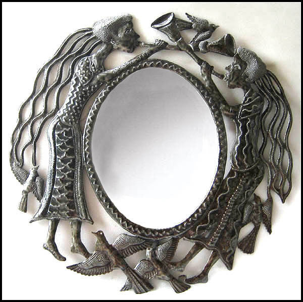 Mirror Metal Wall Hanging, Haitian Metal Art, Handcrafted Recycled Haitian Steel Drum Metal Art - 23""