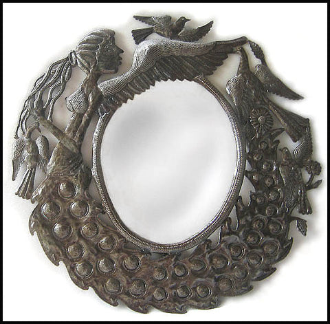 Mirror Metal Wall Decor - Haitian Metal Art - Ornate Mirror, Peacock Design - 23""