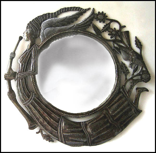 Mirror Metal Wall Hanging - Recycled Haitian Steel Drum, Decorative Mirror - Angel Design -23""