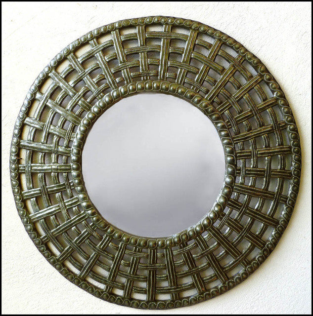 Metal Mirror Wall Decor, Handcrafted Haitian Steel Drum Metal Art,Basket Weave Design - 23""
