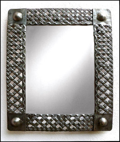 Metal Wall Mirror Wall Decor - Basketweave Design -  Handcrafted Haitian Steel Drum Art -17""