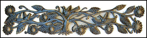 "Birds Metal Wall Hanging, Haitian Recycled Steel Drums, Haitian Metal Wall Art- Metal Art -  8"" x 34"""
