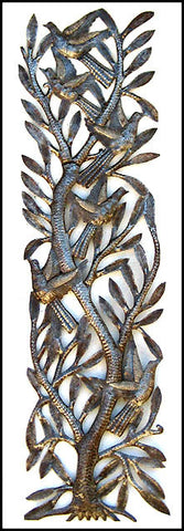"Haiti Metal Art, Recycled Steel Oil Drum, Art of Haiti, Metal Birds, Metal Wall Hanging - 8"" x 34"""