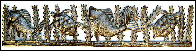 "Haiti Metal Art, Fish and Turtles Metal Wall Hanging, Haitian Recycled Steel Drum Art, Metal Wall Decor, 8"" x 34"""