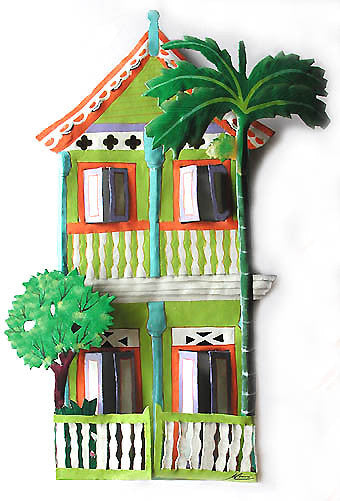 "Gingerbread House - Painted Metal Wall Hanging - Caribbean Tropical Home Decor - 11"" x 17"""