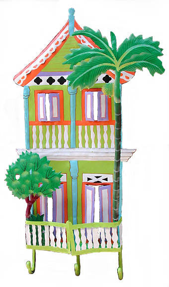 "Gingerbread House Wall Hook - Hand Painted Metal Tropical Design - 11"" x 20"""
