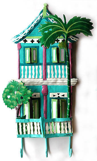 "Metal Hook - Hand Painted Gingerbread House Wall Hook - Tropical Home Decor - 11"" x 20"""