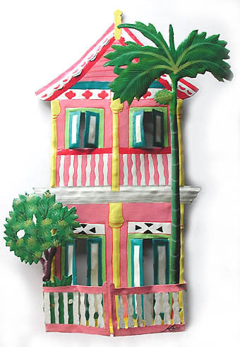 Gingerbread House Wall Hanging - Painted Metal Art - Tropical Home Decor - Haitian Metal Art