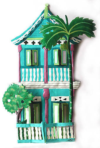 Gingerbread House - Painted Metal Wall Art - Tropical Home Decor - Haitian Steel Drum Metal