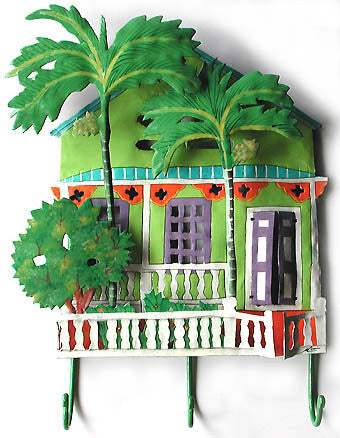 "Painted Metal Wall Hook - Caribbean Gingerbread House - Tropical Design Towel Holder - 13"" x 17"""