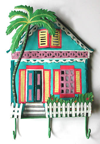 "Hand Painted Metal Gingerbread House Hook - Haitian Steel Drum Art - Tropical Design - 12"" x 17"""
