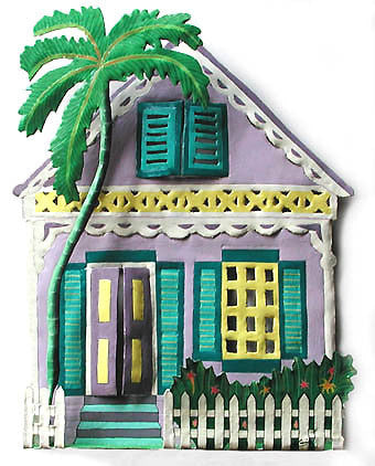 "Hand Painted Metal Gingerbread House Wall Hanging - Tropical Home Decor - 12"" x 14"""