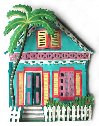 "Caribbean House Wall Hanging - Hand Painted Haitian Recycled Steel Drum Metal Art - 12"" x 14"""