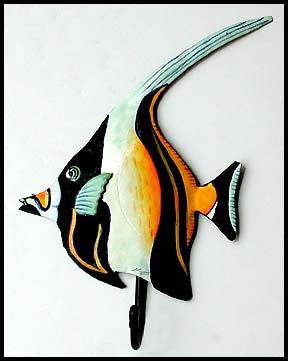 Moorish Idol - Painted Metal Tropical Fish Bathroom Wall Hook - Decorative Metal Towel Hook