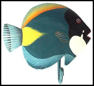 "Bathroom Wall Hook - Hand Painted Metal Tropical Decor - Blue & Yellow Tropical Fish - 6"" x 6"""