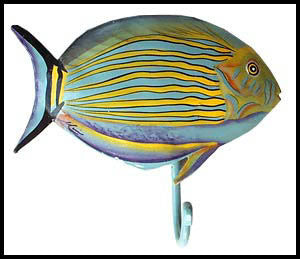 "Painted Metal Tropical Fish Wall Hook - Surgeon Fish - Tropical Decor, Steel Drum Art - 6"" x 7"""