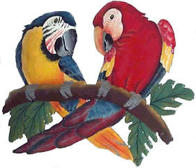 "Macaw Parrots Metal Wall Hanging - Hand Painted Tropical Decor - 18"" x 12"""