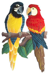 "Parrots - Hand Painted Metal Macaw Parrots - Handcrafted Tropical Wall Hanging - 12"" x 17"""